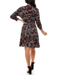 Adrienne Vittadini 3/4 Sleeve Mock Neck Dress - Back