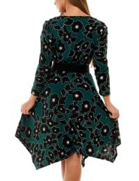 Adrienne Vittadini Puff Sleeve With Asymmetrical Hem Dress - Back