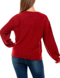 Adrienne Vittadini Long Sleeve With Fringe Sweater - Back