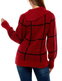 Adrienne Vittadini Long Sleeve With Split Neck Pullover Sweater - Back