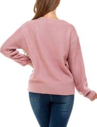 Adrienne Vittadini Long Sleeve Crew Neck Sweater - Back