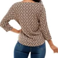 Three Quarter Sleeve Hacci With Grommets Top - Back