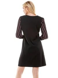 Stripe Sleeve Knit Dress - Back