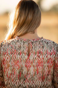 Roz & Ali Puff Sleeve Vertical Print Blouse - Plus - Back