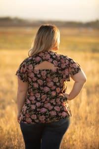 Roz & Ali Floral Flutter Sleeve Blouse - Plus - Back