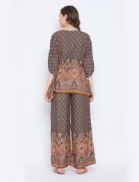2-Piece Co-Ord with Adjustable Drawstring Rayon Set Pajama - Back