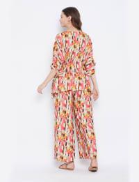2-Piece Top and Bottom Rayon Co-Ord Pajama Set - Plus - Back