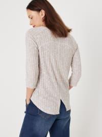 Split Back Cozy Rib Knit Tee - Back