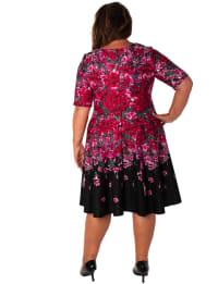 Floral Scuba Fit & Flare Dress - Plus - Back