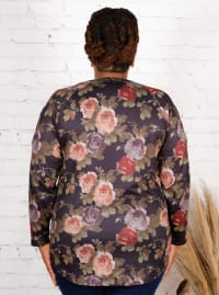 Wonder Blossom Floral Sleeve Cut Out Hacci Top - Plus - Back
