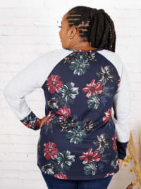 Wonder Blossom Floral Twist Front Hacci Sweater Knit Top - Plus - Back