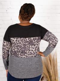 Wonder Blossom Leopard Print Hacci Sweater Knit Top - Plus - Back