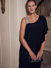 Asymmetric Knee-Length Dress with Draped Shoulder and Diamante Strap - Plus - Back