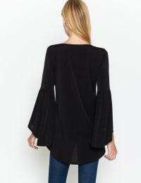 Westport Scallop Trim Gold Crochet Top - Plus - Back