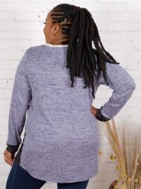 Wonder Blossom Color Block Sweater Knit Tunic - Plus - Back