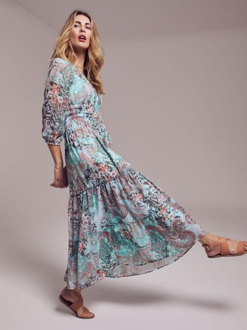 Paisley Veronica Maxi Peasant Dress - Back