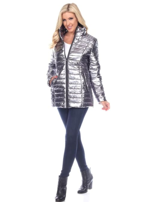 Metallic Front Zipper Puffer Coat - Back