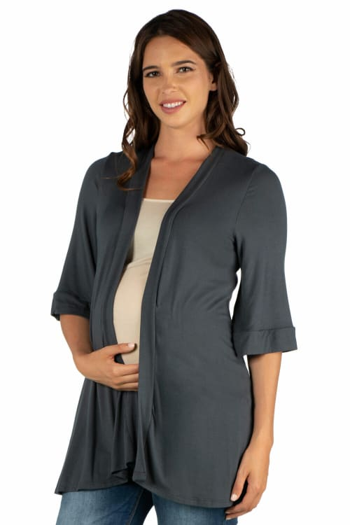 24Seven Comfort Apparel Open Front Elbow Length Sleeve Maternity Cardigan - Back