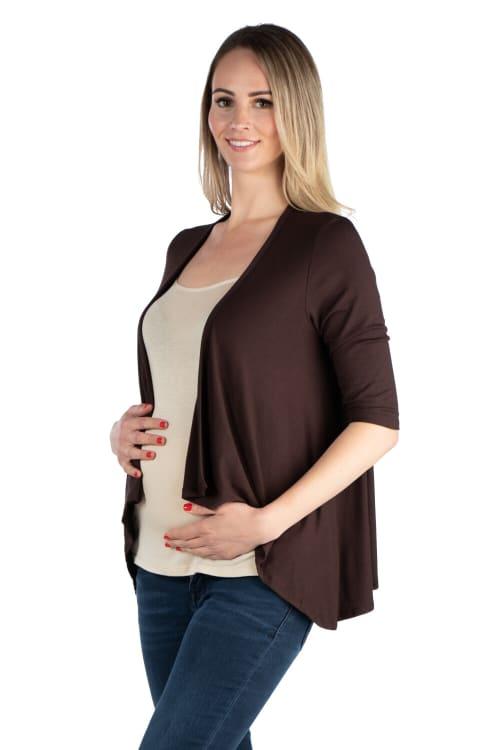 24Seven Comfort Apparel Elbow Length Sleeve Maternity Open Cardigan - Back