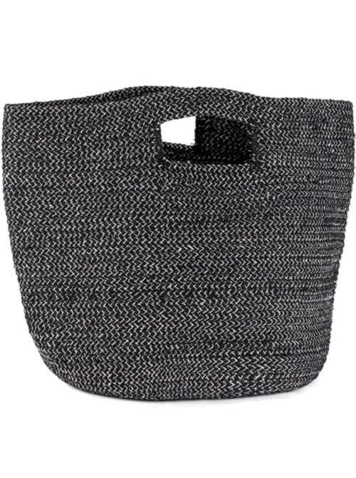 Straw Beach Tote Lurex Cut Out Handle - Back