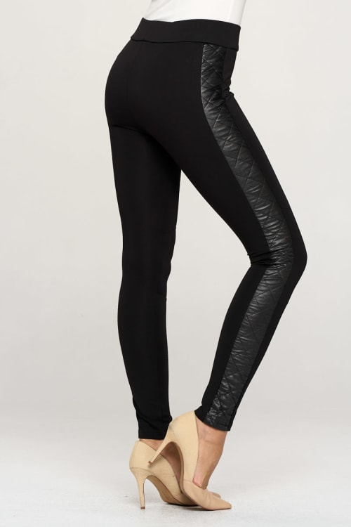 KAII Vegan Leather Quilted Side Legging - Back