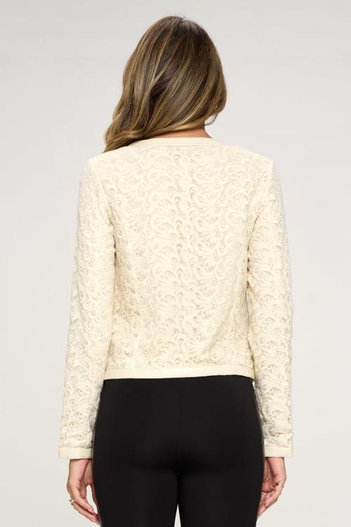 KAII Vegan Leather Edged Lace Jacket - Back