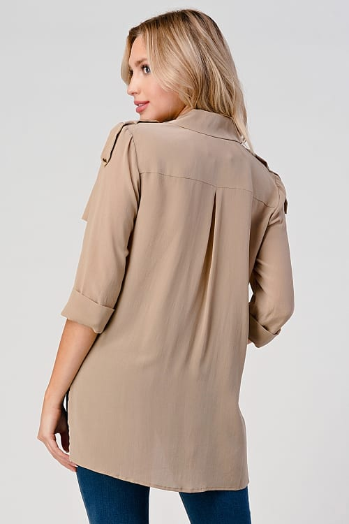 KAII High Low Silk Trench Shirt - Back