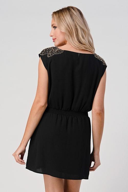 KAII Beaded Shoulder Embellishment Tunic Dress - Back