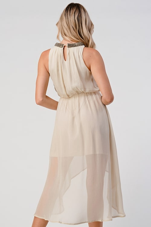 KAII Shiny Stone Neck Trim High Low Dress - Back