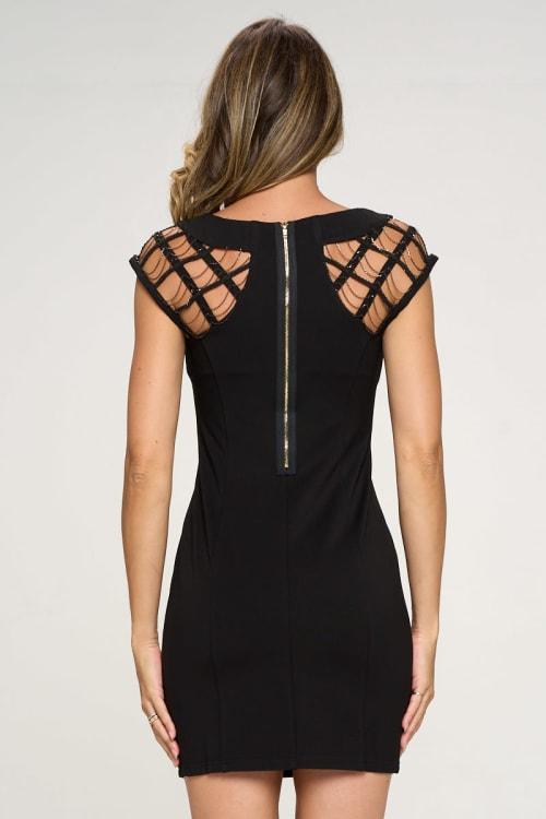 KAII Sleeve Chain Detail Ponti Dress - Back