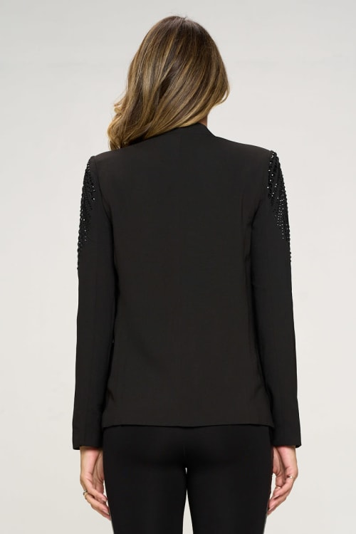 KAII With Stone Accented Sleeves Blazer - Back
