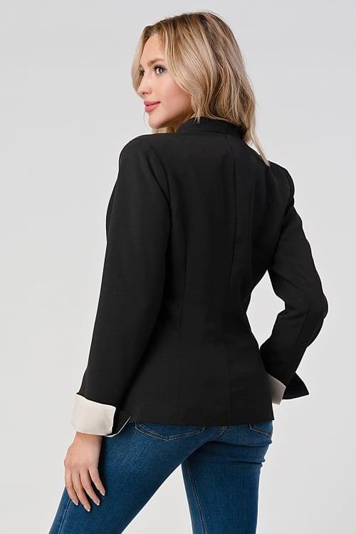KAII Collarless  With Contrast Cuff Blazer - Back