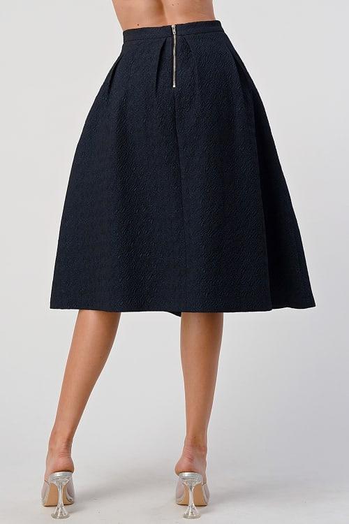 KAII Pleated Waist Mid Length Puffy Skirt - Back