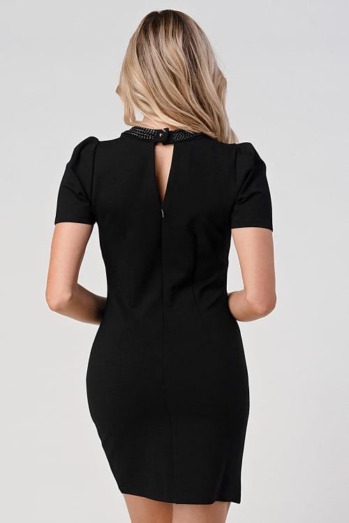 KAII Puff Sleeve Chain Neck Detail Ponti Dress - Back