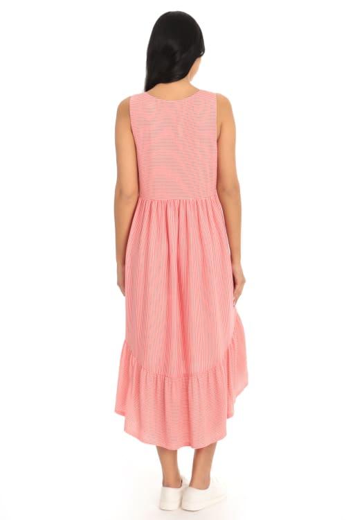 Coral High Low Hem Knit Dress - Back