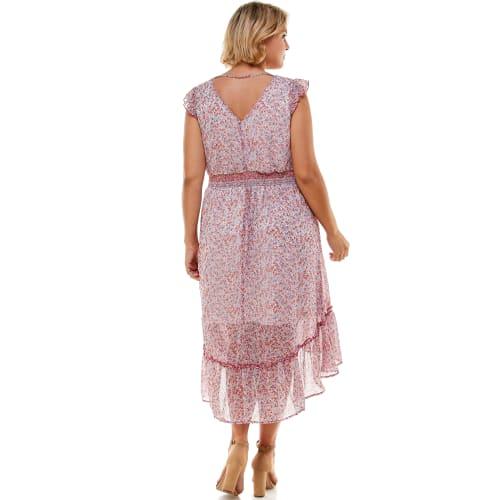 Ditsy Floral Ruffle Hem Chiffon Dress - Plus - Back