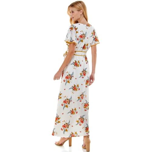 Faux Wrap Floral Maxi Dress - Back