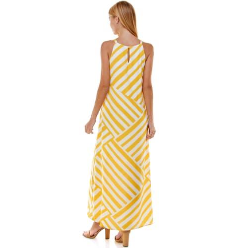 Fun Yellow Stripe Maxi Dress - Back