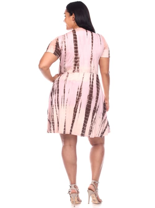 Tie Dye Print V-Neck Wrap Dress - Plus - Back