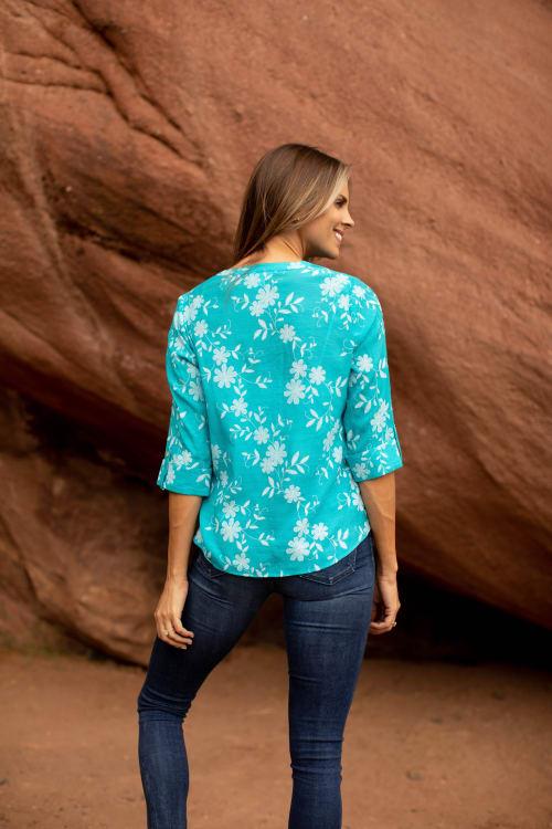 Westport Floral Button Front Shirt - Back