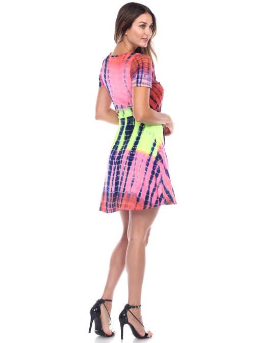 Tie Dye Print V-Neck Wrap Dress - Back