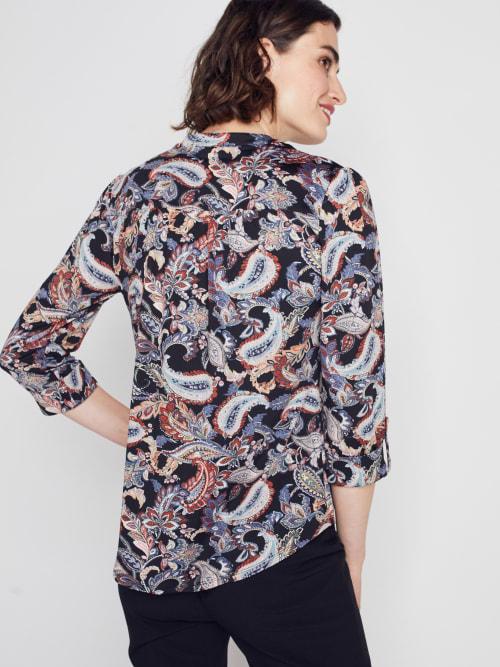 Roz & Ali Multi Color Paisley Pintuck Popover - Back