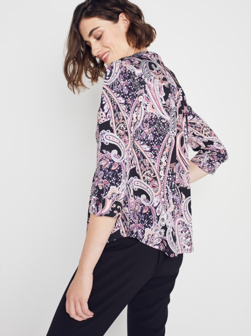 Roz & Ali Floral Paisley Pintuck Popover - Back
