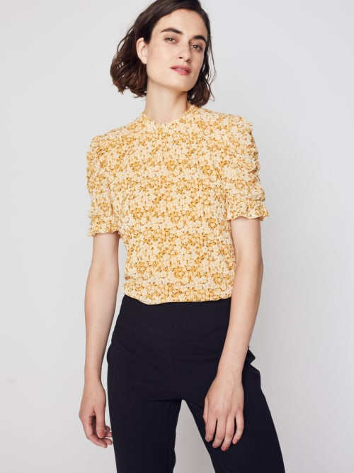 Roz & Ali Puff Sleeve Floral Blouse - Back