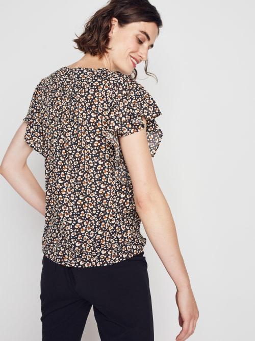Roz & Ali Chain Trim Flutter Sleeve Blouse - Back
