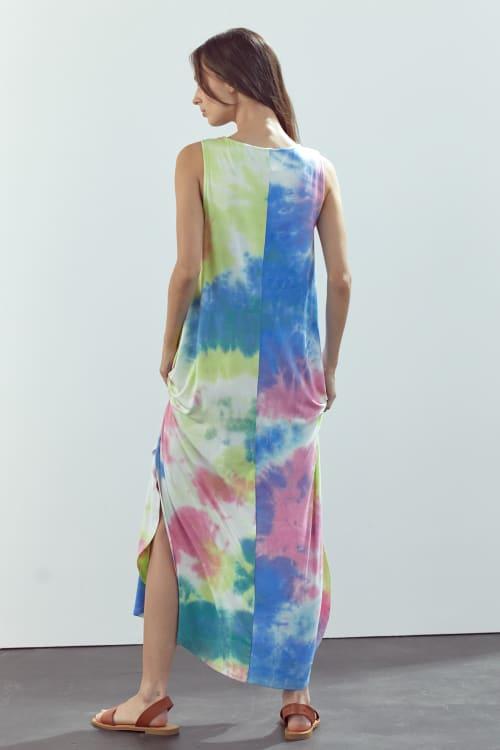 KAII Sleeveless Crew Neck In Tie Dye Maxi Dress - Back