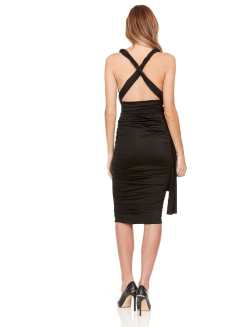 Convertible Solid Color Midi Dress - Back