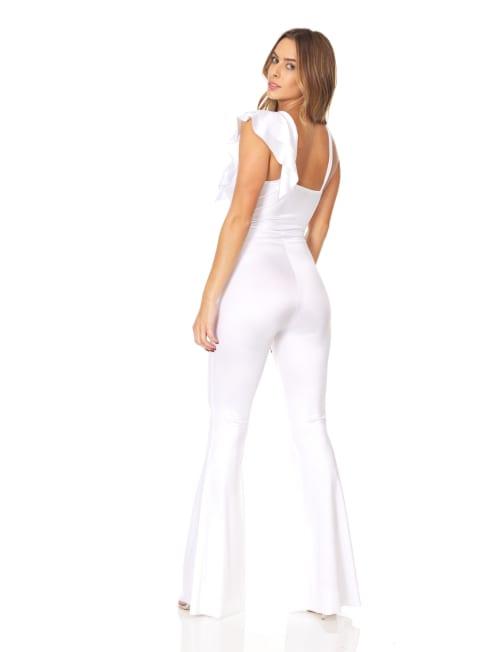 Diagonal Ruffle Front Jumpsuit - Back