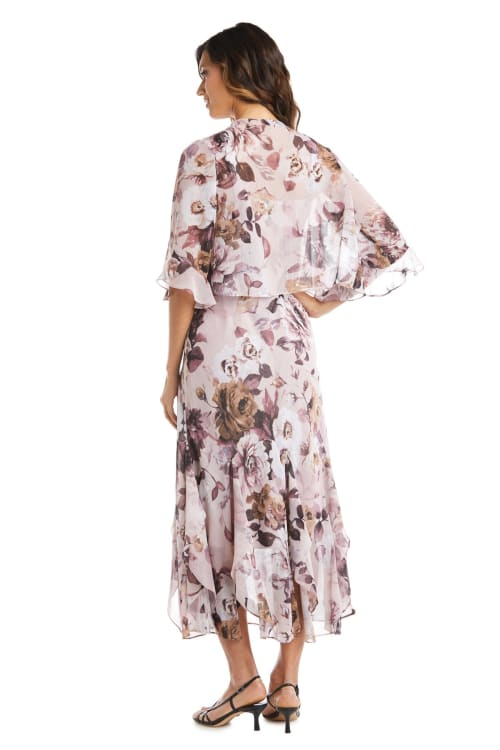 Rose Chiffon Floral Lurex  Jacket Dress - Back
