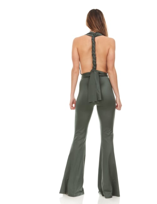 Wrap Neck Sleeveless Convertible Jumpsuit - Back